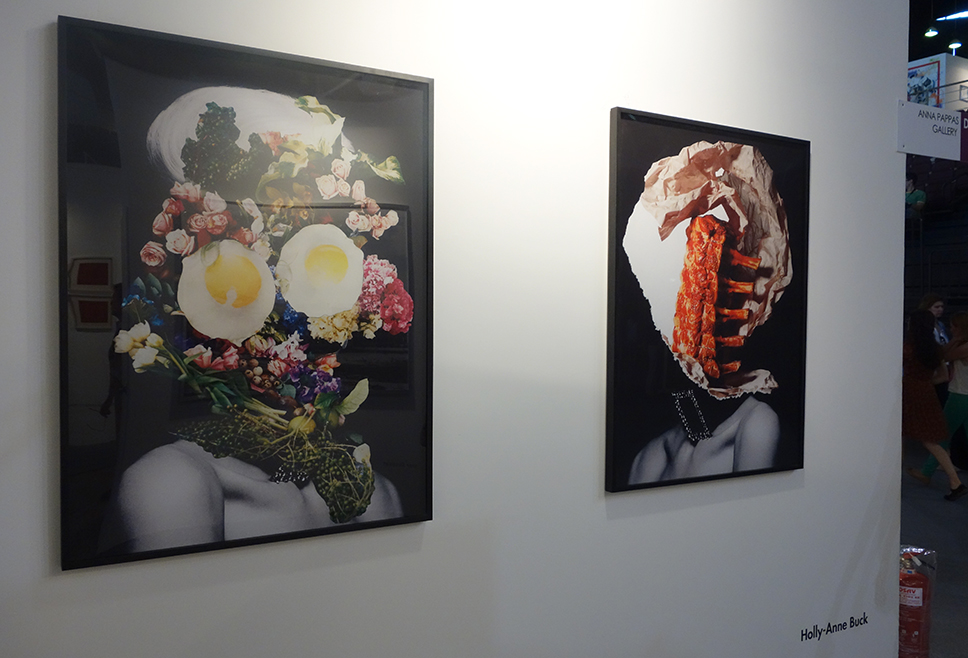 "Holly-Anne Buck ""FLAWLESS"" (left) ""NICE RACK"" (right) Paper Collages / Giclee Prints, Editions of 5 118.9 x 84.1 cm Exhibited at Anna Pappas Gallery for Art Athina Contemporary Art Fair of Athens, Greece 2013"